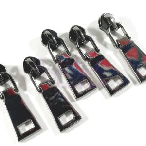 Medium Squared No. 5 Zipper Pulls for Nylon Tape - Set of 5