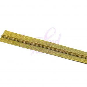 3 Yards of No. 5 Liquid Gold Zipper Tape with Gold Teeth-Includes 9 Zipper Pulls