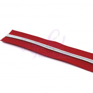 3 YARDS No. 5 Red Zipper Tape w/Nickel Teeth - Includes 9 Zipper Pulls