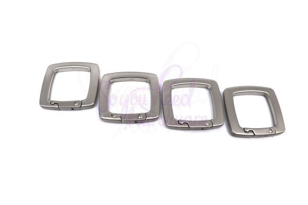 "1"" Svelte Square Spring Gate Rings - Set of 4"